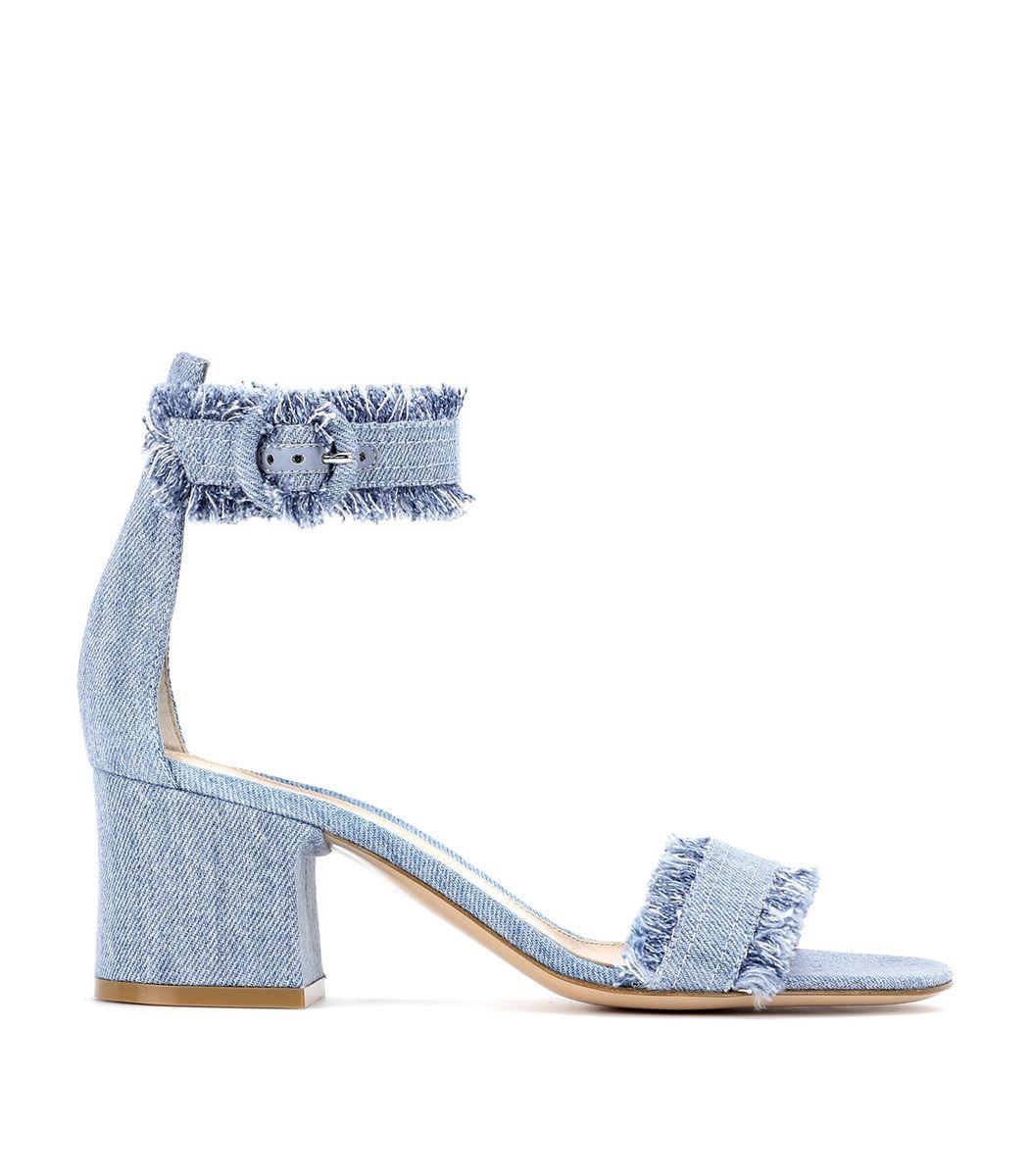 Gianvito Rossi Kiki Frayed Denim Ankle Strap Block Heel Sandals In Stone Wash Modesens Ankle Strap Block Heel Ankle Strap Sandals Heels Block Heels Sandal