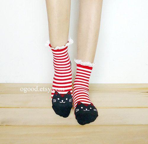 Cat Lace Socks Ankle Socks animal Socks Knitted Socks Leg por ogood