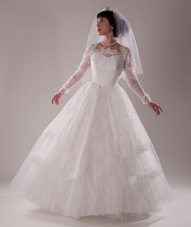 Vintage 1960s tulle wedding dress lace peplum sleeves bridal vintage 1960s tulle wedding dress lace peplum sleeves bridal fashions ombrellifo Image collections
