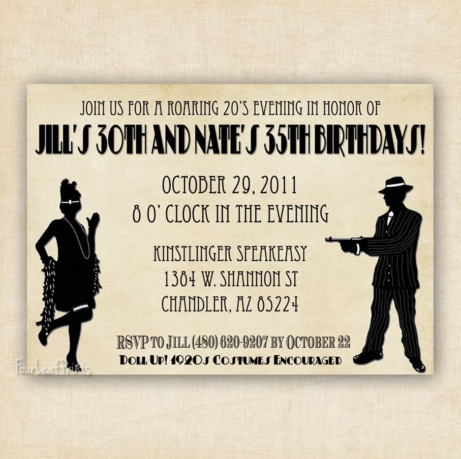 Roaring 1920\'s Flapper and Gangter Birthday Invitation - Printable ...