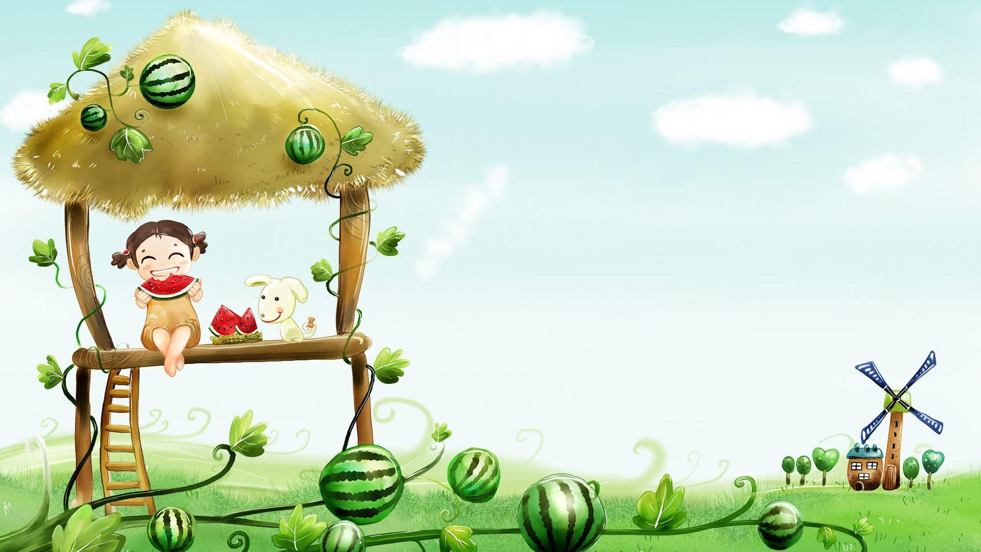 Download Wallpaper 1920x1080 Girl Dog Watermelon Food Garden Mill Full Hd 1080p Hd Backgrou Cartoon Wallpaper Hd Cartoon Wallpaper Cute Cartoon Wallpapers