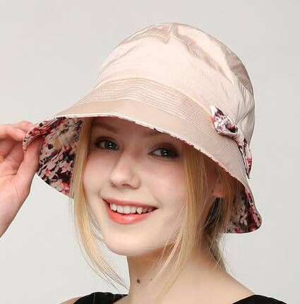 acd8a97b2de Fresh floral bucket hat with bow for teenage girls UV protection sun hats