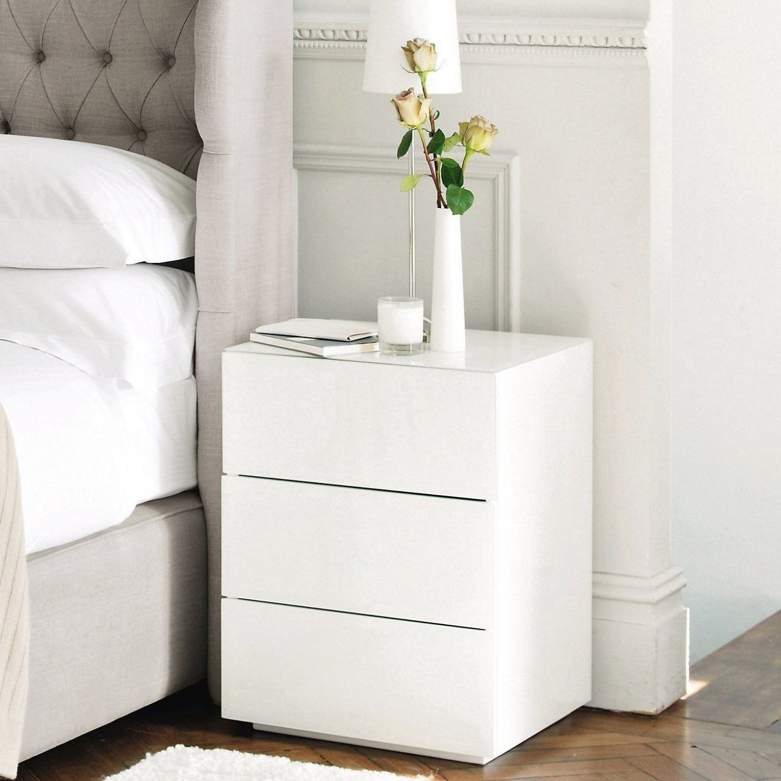 Carlton Glass 3 Drawer Bedside Table Bedroom Furniture Furniture Home The White Compan In 2020 White Bedside Table Bedroom Bedside Table Stylish Bedside Tables