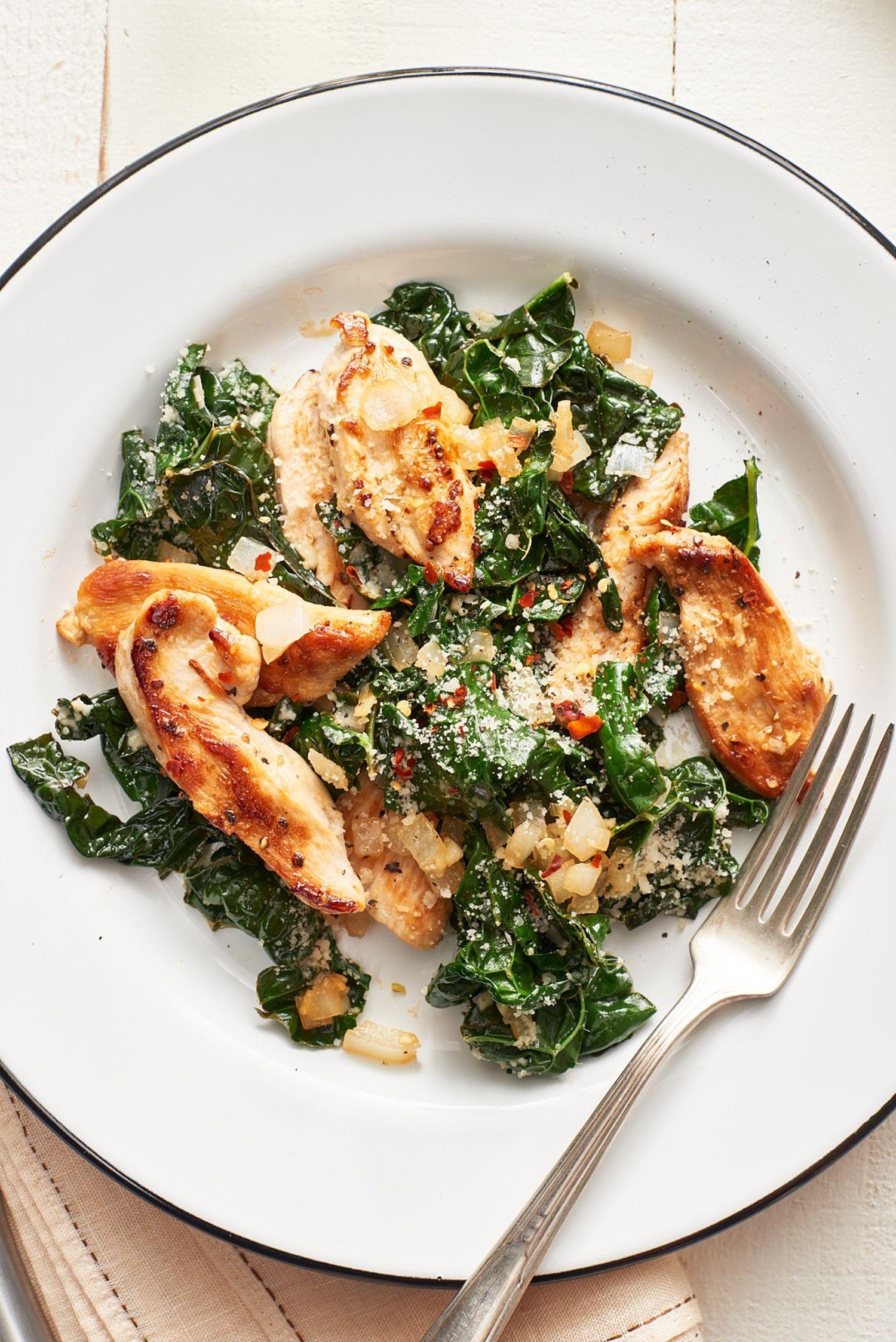 Parmesan Chicken And Kale Sauté