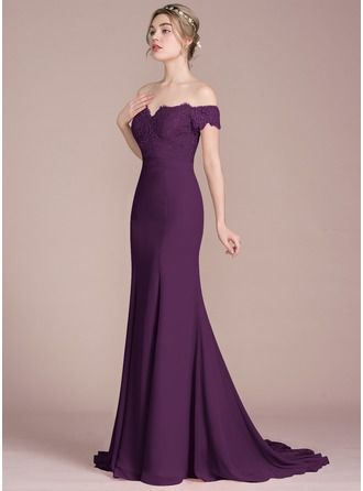 8d4108a8409 Trumpet Mermaid Off-the-Shoulder Court Train Chiffon Lace Bridesmaid Dress  With Beading Sequins