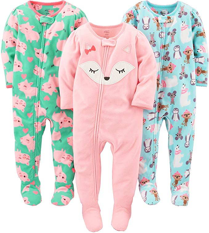 Pack of 3 Simple Joys by Carters Baby Girls 3-Pack Loose Fit Flame Resistant Fleece Footed Pajamas