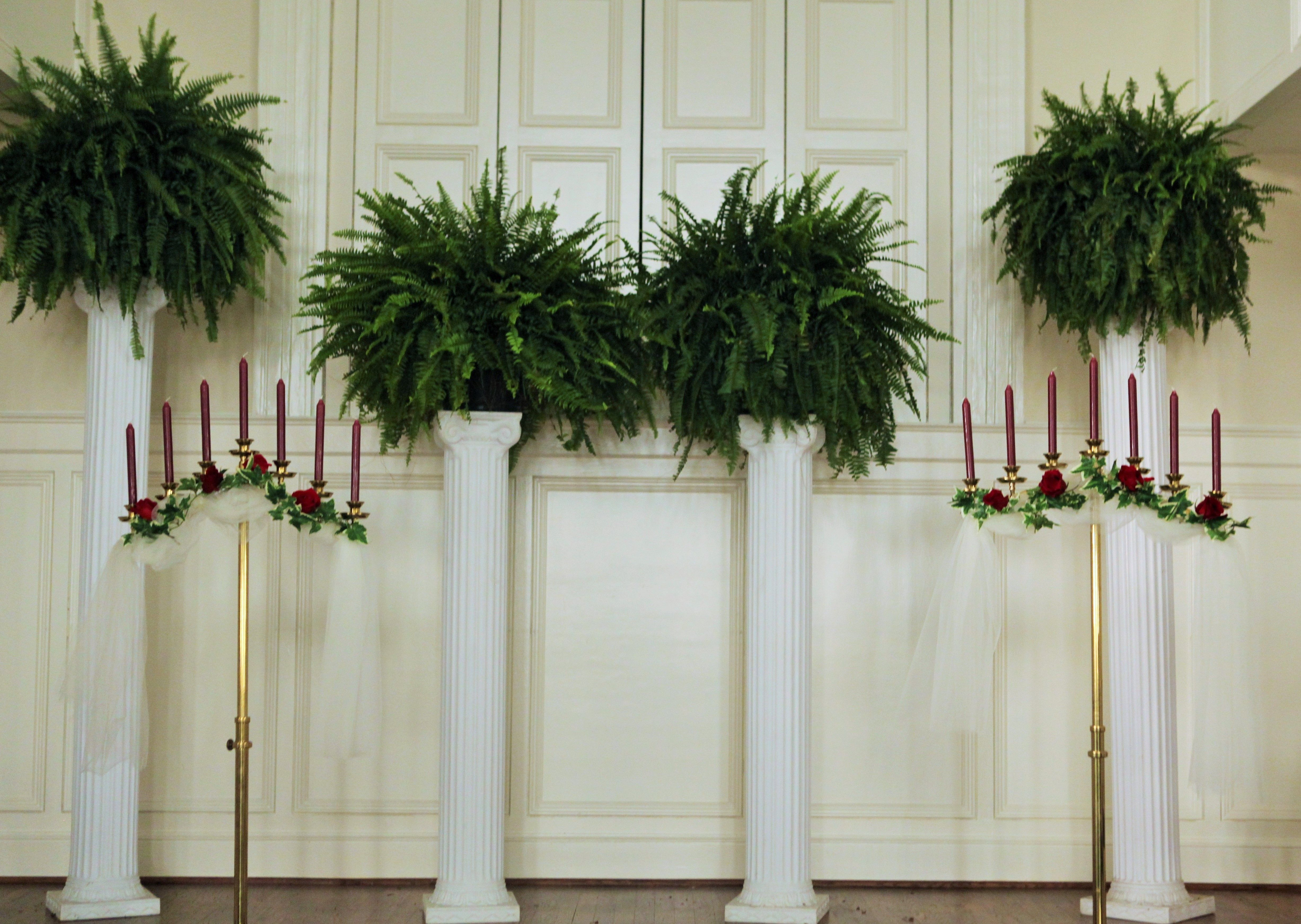 Wedding Decor Columns With Ferns Candle Holders With Burgundy