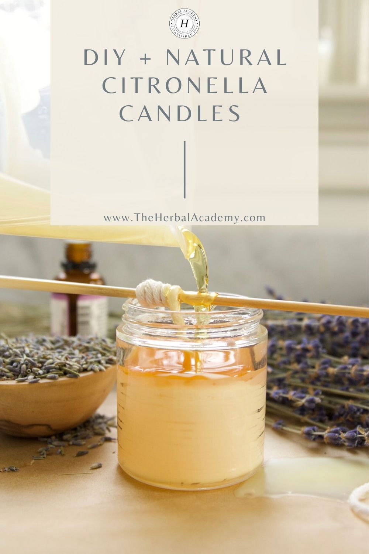 Diy Natural Citronella Candles Herbal Academy In 2020 Natural Citronella Candles Citronella Candles Diy Citronella Candles