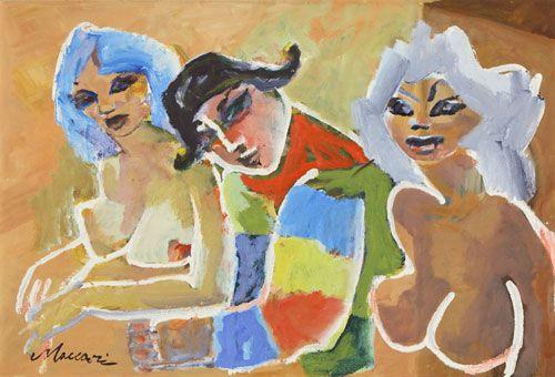 """MACCARI MINO (Siena 1898-Roma 1989)  Le amiche d'Arlecchino 1971  Olio su tela, 40x60  Firmato in basso a sinistra: """"Maccari"""""""