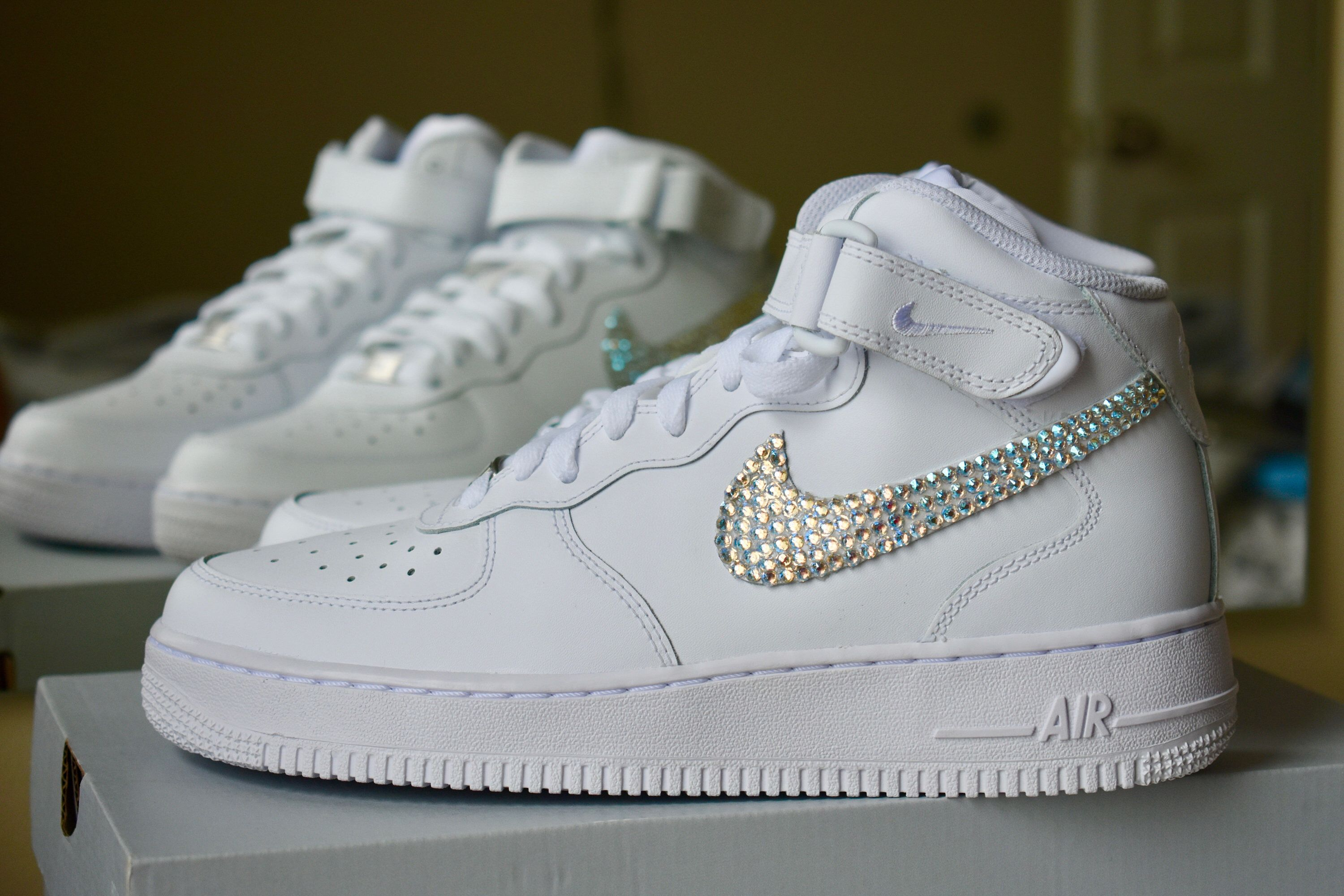 san francisco 0f7c0 84a9b Swarovski Crystal Nike Air Force 1 LOW/MID/HIGH Sneakers in ...