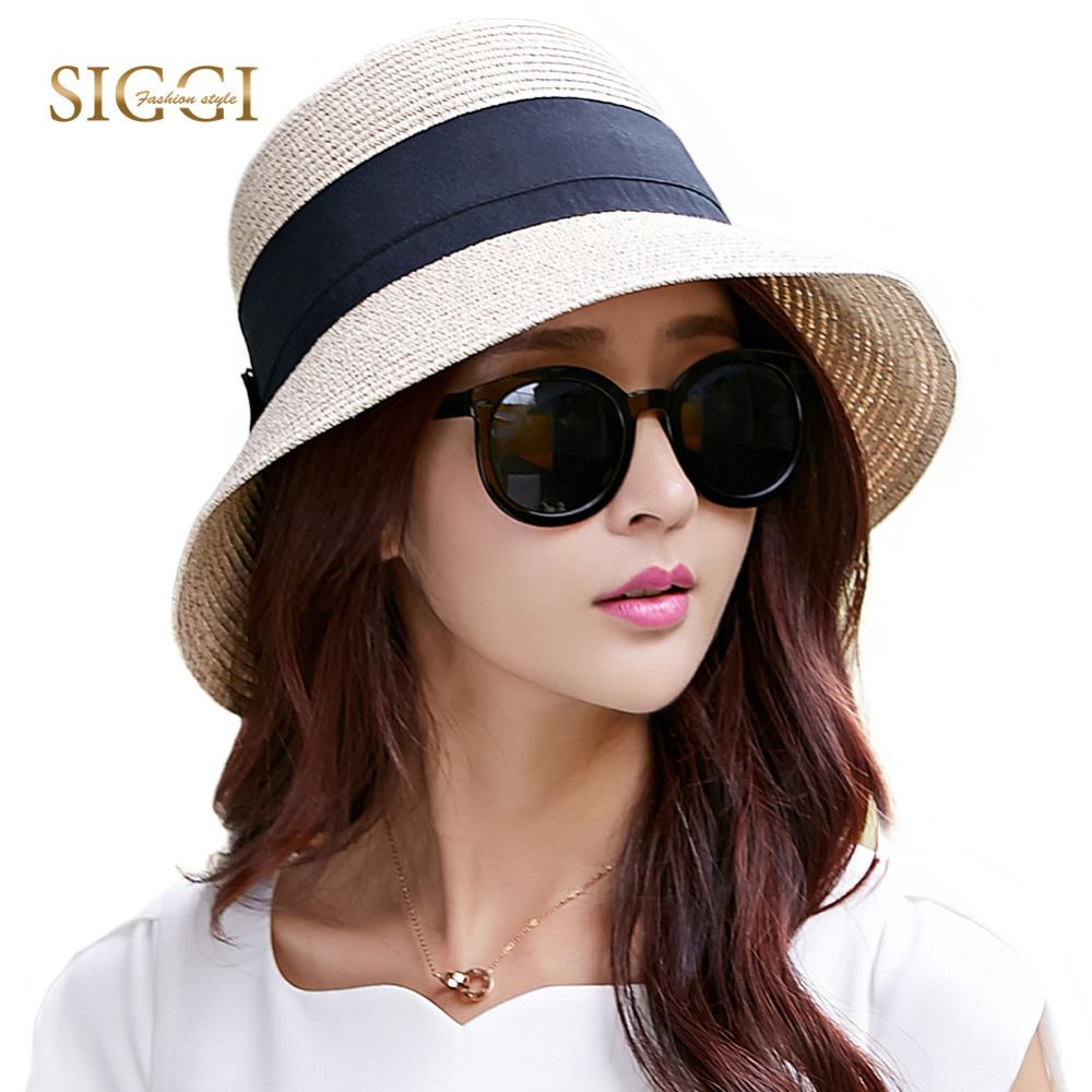 SIGGI Women straw summer sun floppy hat wide brim packable upf uv cap beach  fashion 69087 19d75cd5de5d