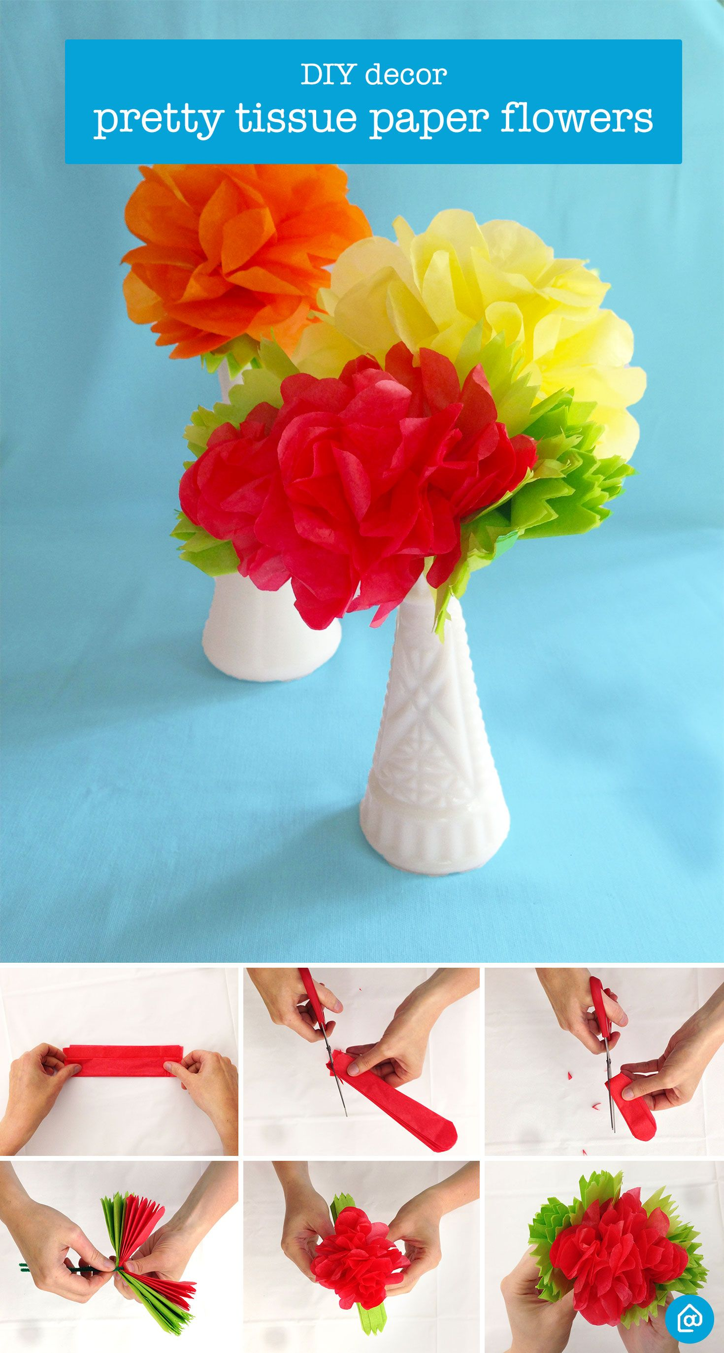 Diy Decor Pretty Tissue Paper Flowers Tissue Flowers Pinterest