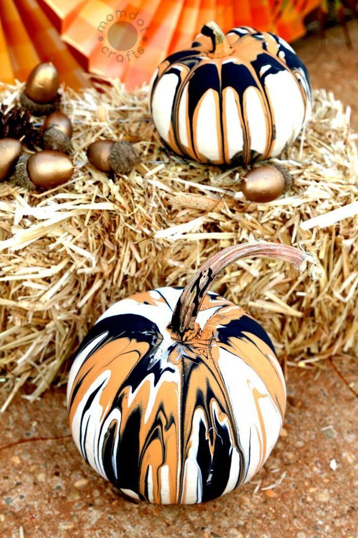 Drip Painting Pumpkins (No Carve DIY) Kürbis dekorieren