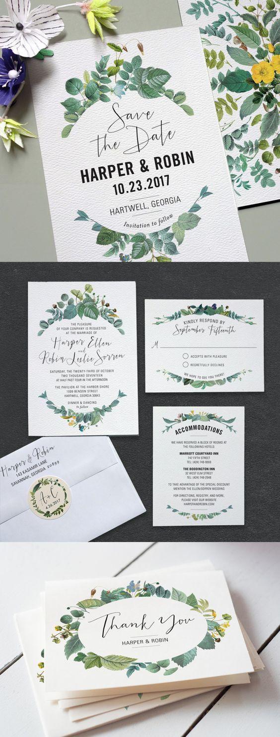 Printable Press Delicately Framed wedding invitation suite: