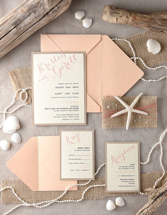 Beach Wedding Invitations 20 Peach Starfish by forlovepolkadots