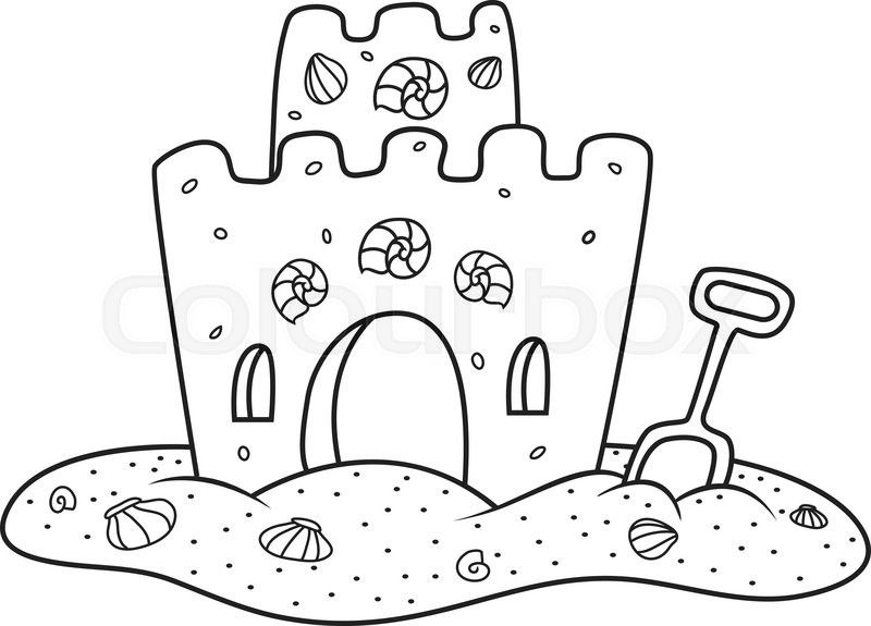 Sand Castle Clipart black and white 3 - 800 X 575 ...