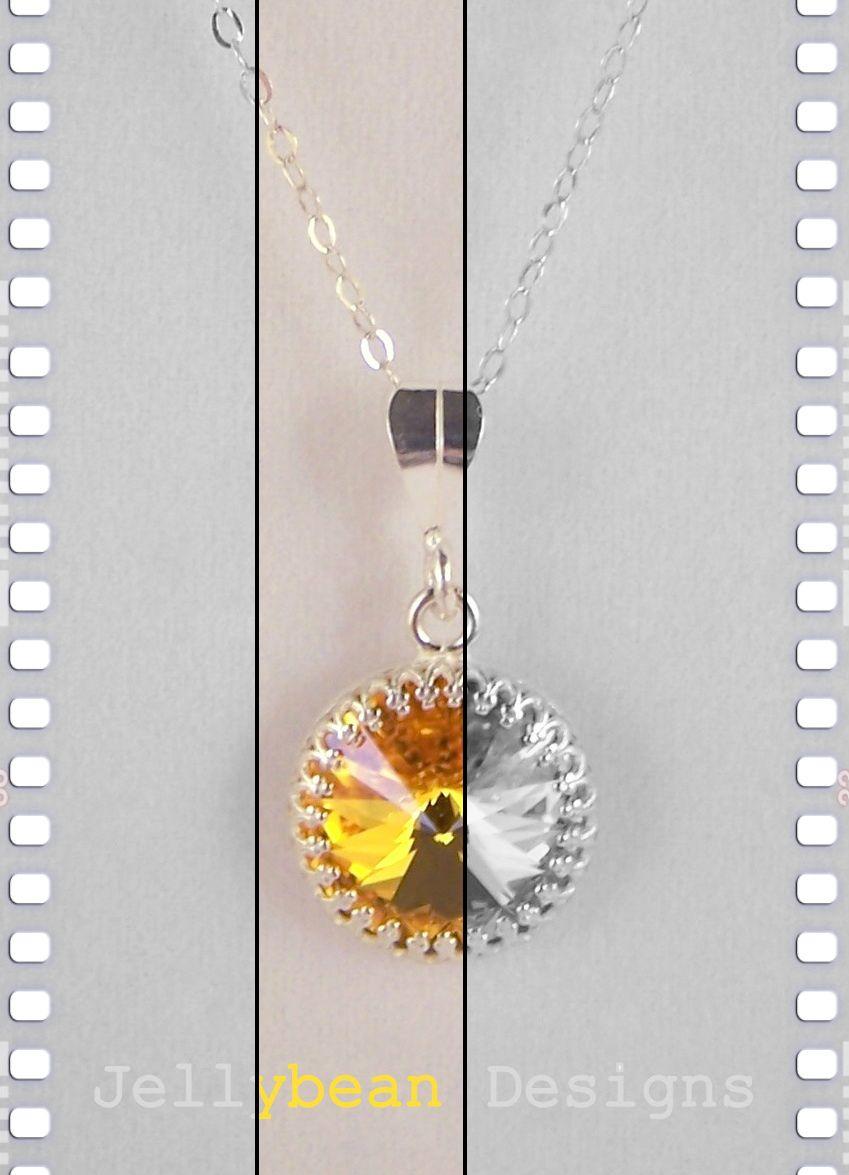 Sunflower swarovski crystal sterling silver pendant necklace