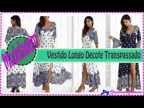 Vestido Longo Decote Transpassado - Aula Como Fazer Molde - YouTube