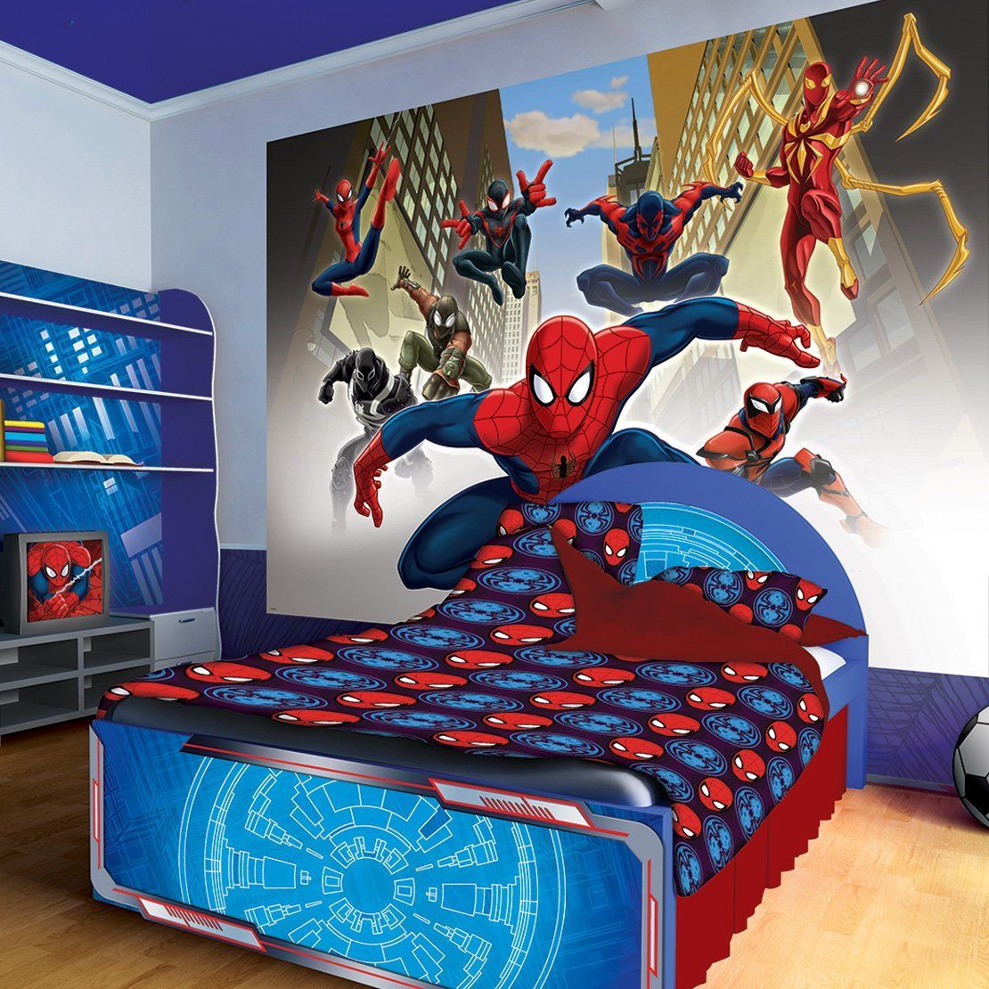 Spiderman Marvel Wall Mural Ideas For Kids Boys Bedroom Wall Decoration 1565 Anoninterior Spiderman Room Kids Room Wallpaper Spiderman Room Decor