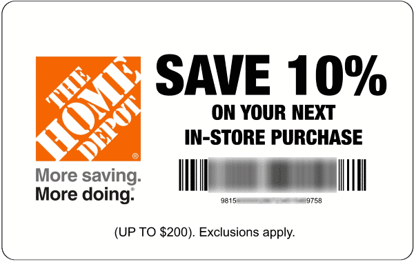 10 Off Home Depot 10 Off Coupon Discount Code Promo Code Home