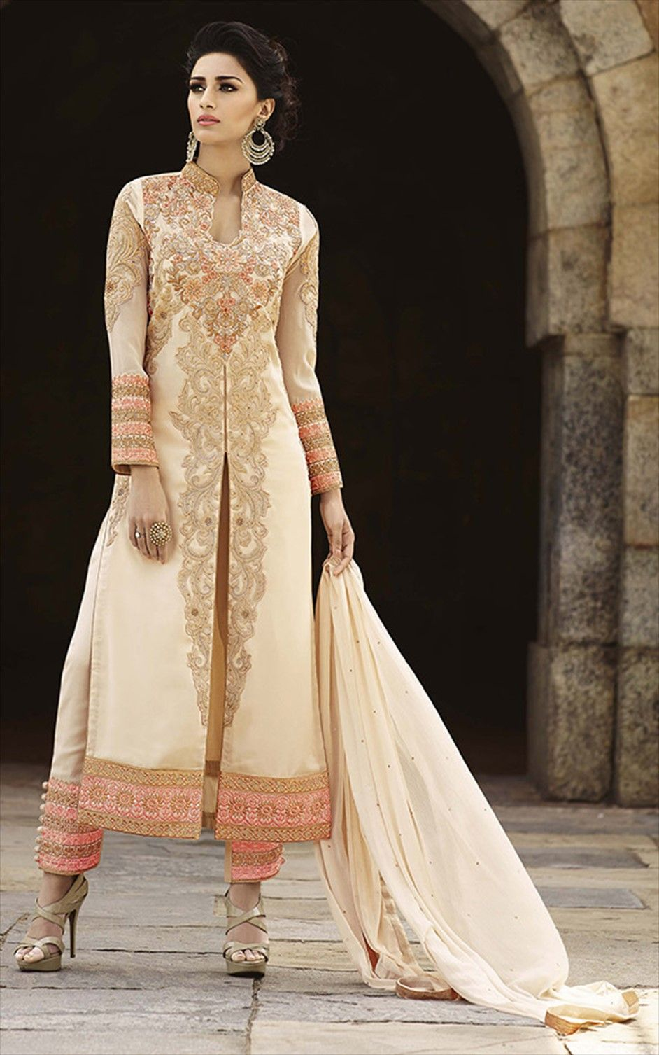 beige and brown color family semistiched party wear salwar