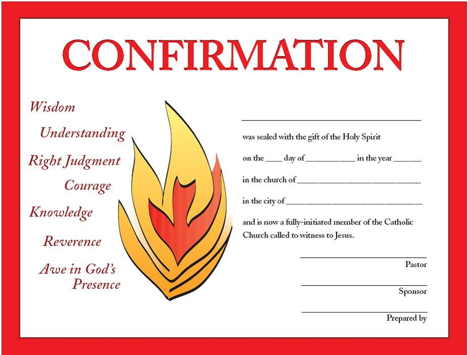 print your own free confirmation certificates designed by