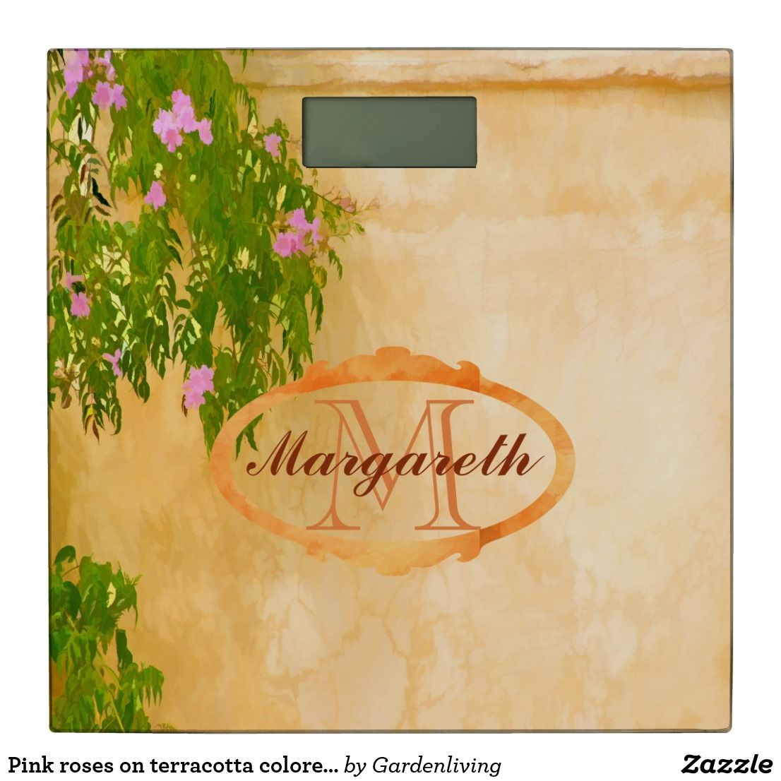 Pink roses on terracotta colored wall monogrammed bathroom scale ...