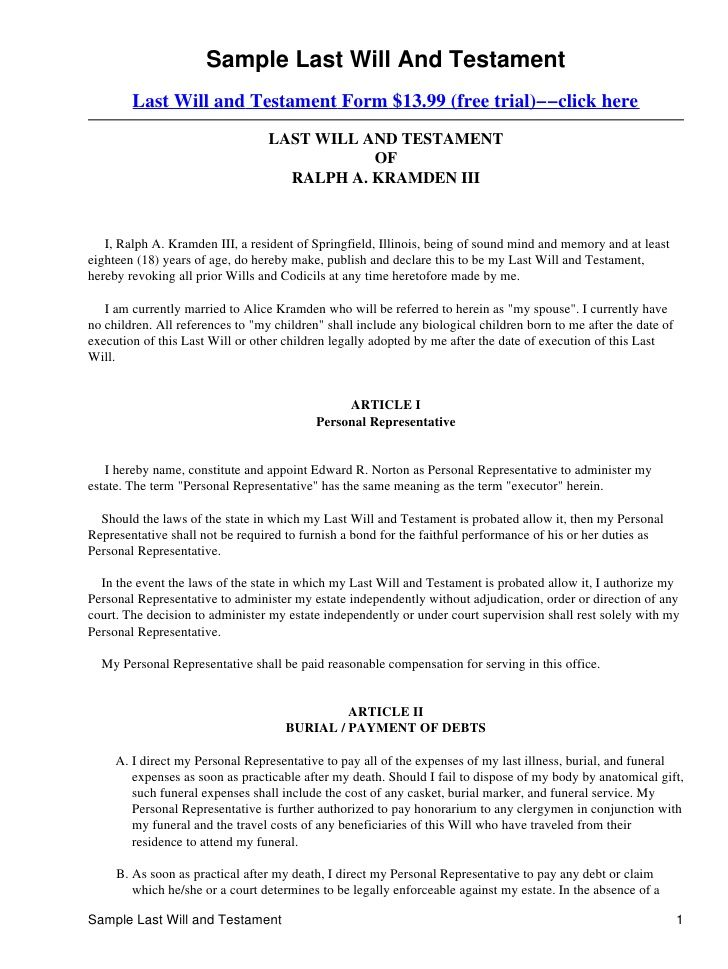 Printable Sample Last Will And Testament Template Form Real - employment confidentiality agreement