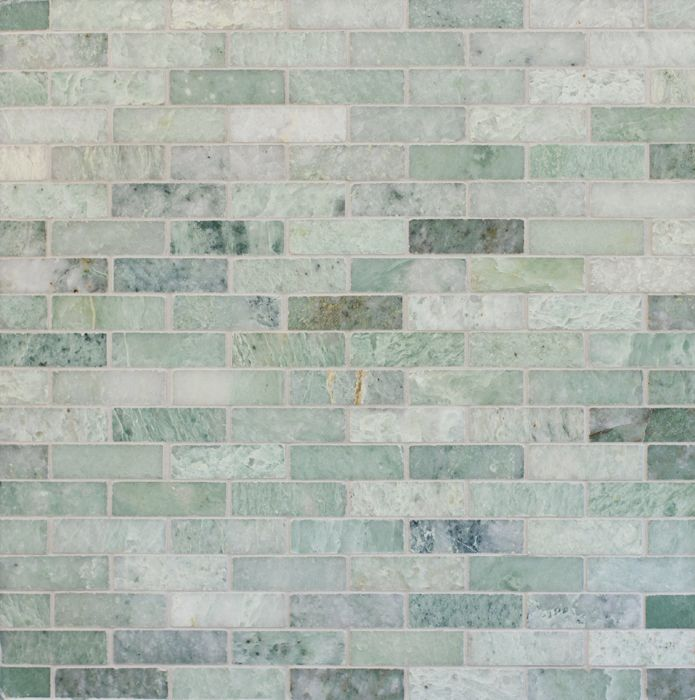 Ming Green Marble Tile In Brick Pattern For Beautiful Wall Ideas Green Tile Backsplash Green Backsplash Ming Green Tile
