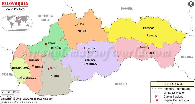 Eslovaquia Mapa  Mapa de Pases  Pinterest  Bratislava slovakia