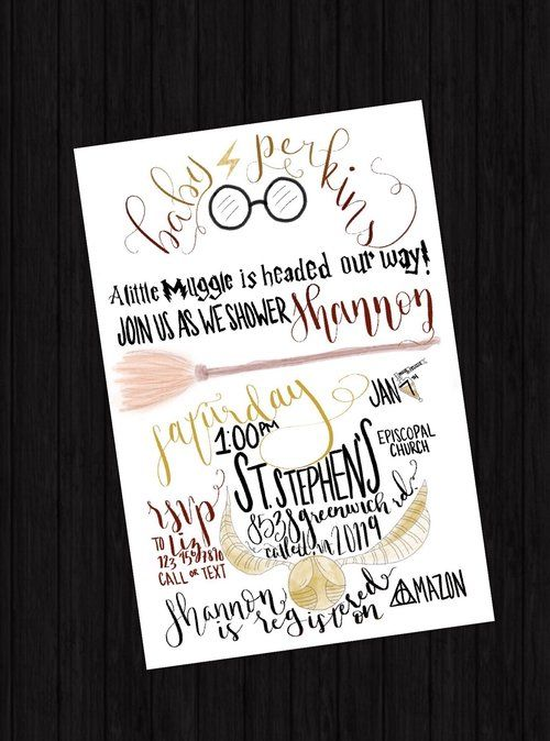 Harry potter baby shower illustrated invitation by gold copy co harry potter baby shower illustrated invitation by gold copy co custom invitations and menus are a fun twist for any party filmwisefo