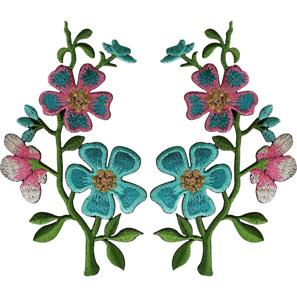 Pair of Rose Flower Embroidered Patches Iron Sew On Embroidery Patch Badge Motif