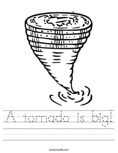 A tornado is big Worksheet - Twisty Noodle | Weather lesson ...