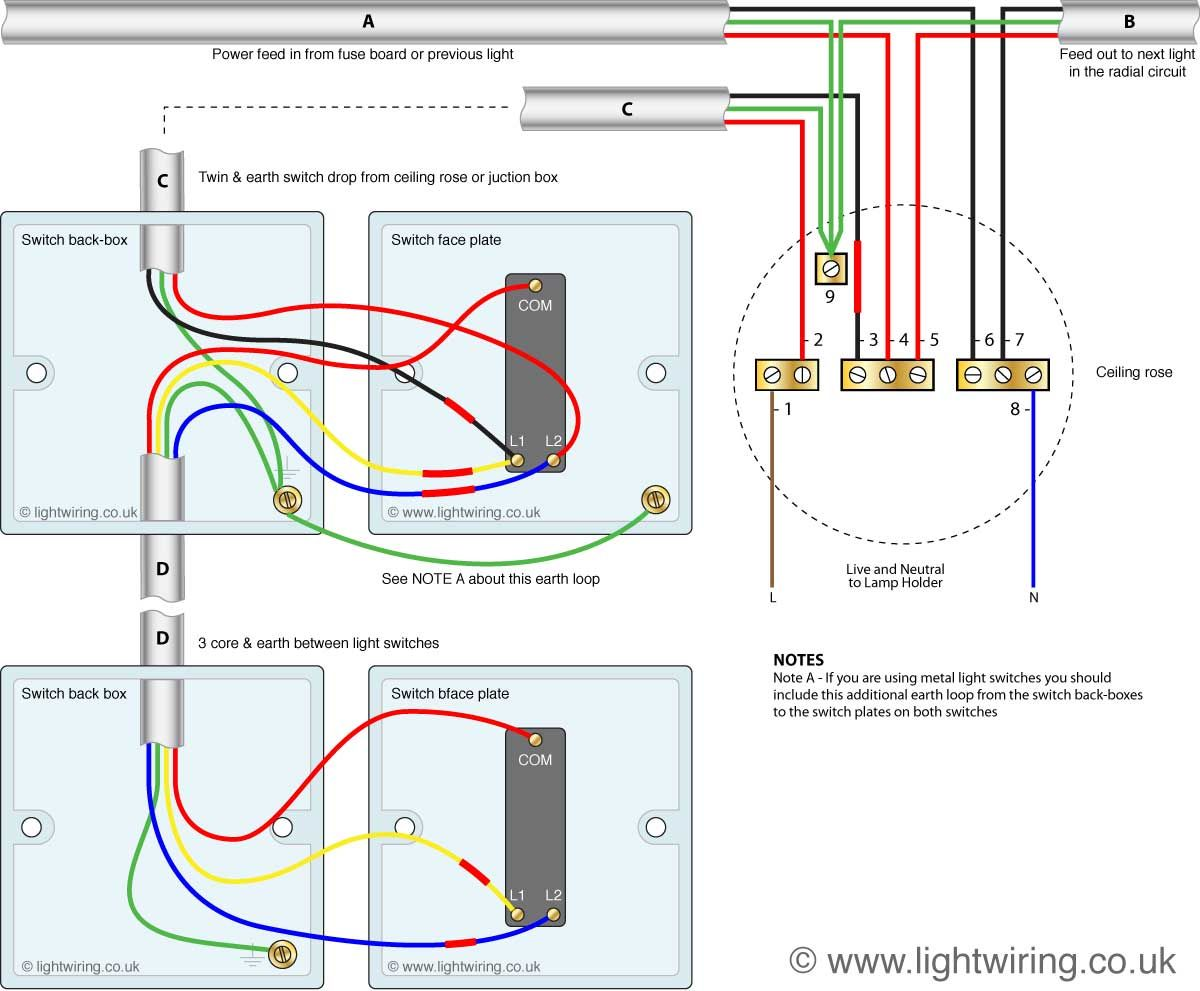 5 way light switch wiring diagram 2001 international 4700 starter two switching old colours jpg 1 200991