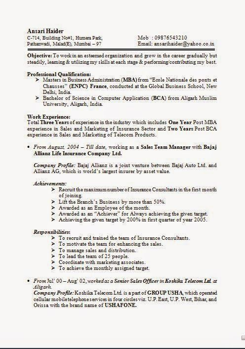 format of good resume Sample Template Example ofExcellent CV - mba resume sample