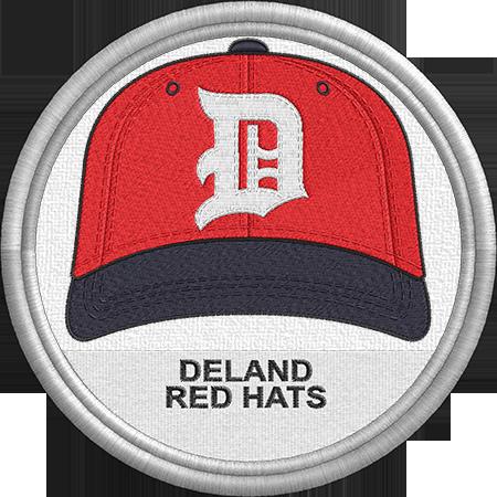 Deland Red Hats Baseball Cap Hat Sports Logo Florida Statel League Minor League Baseball Milb Create Minor League Baseball Red Hats Baseball Hats