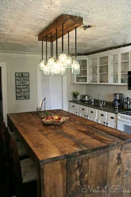 Rustic Kitchen With Tin Ceiling And Wooden Features Love The