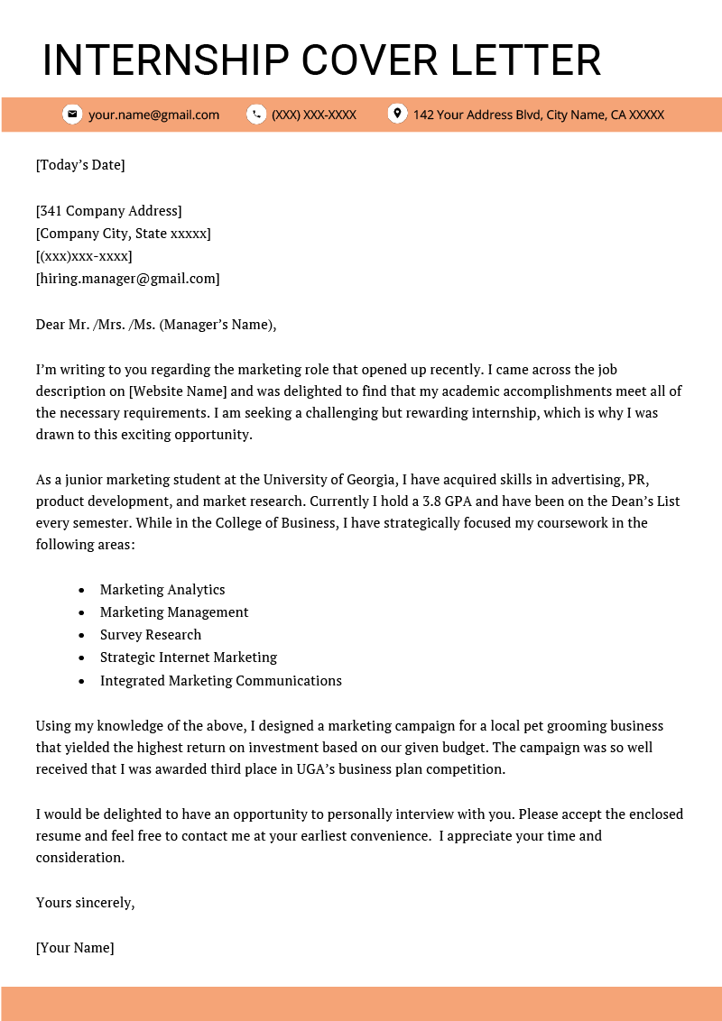 Cover Letter For Internship Example 4 Key Writing Tips Cover