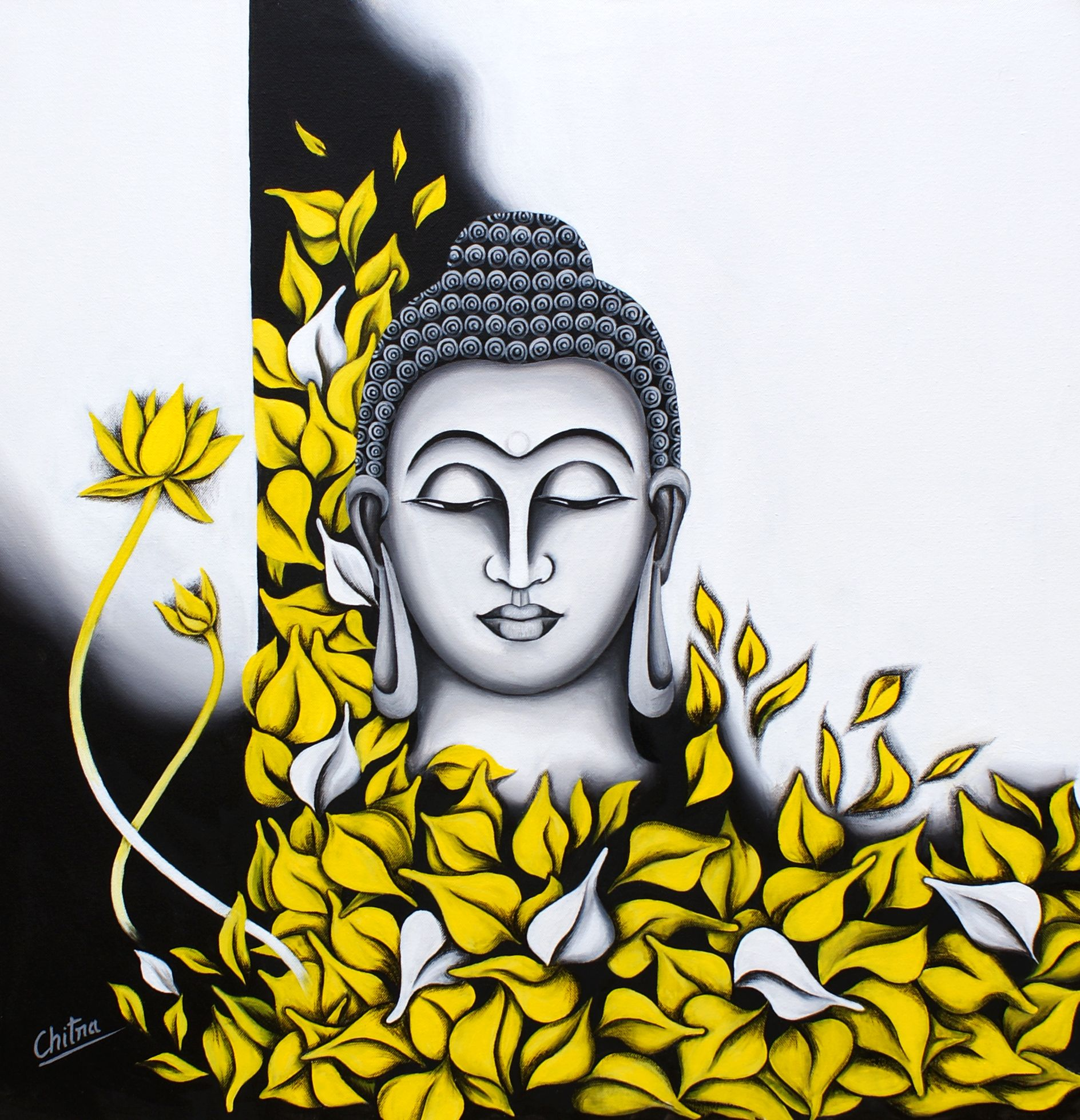 We shall act with good intentions but at times we will for Buddha mural paintings