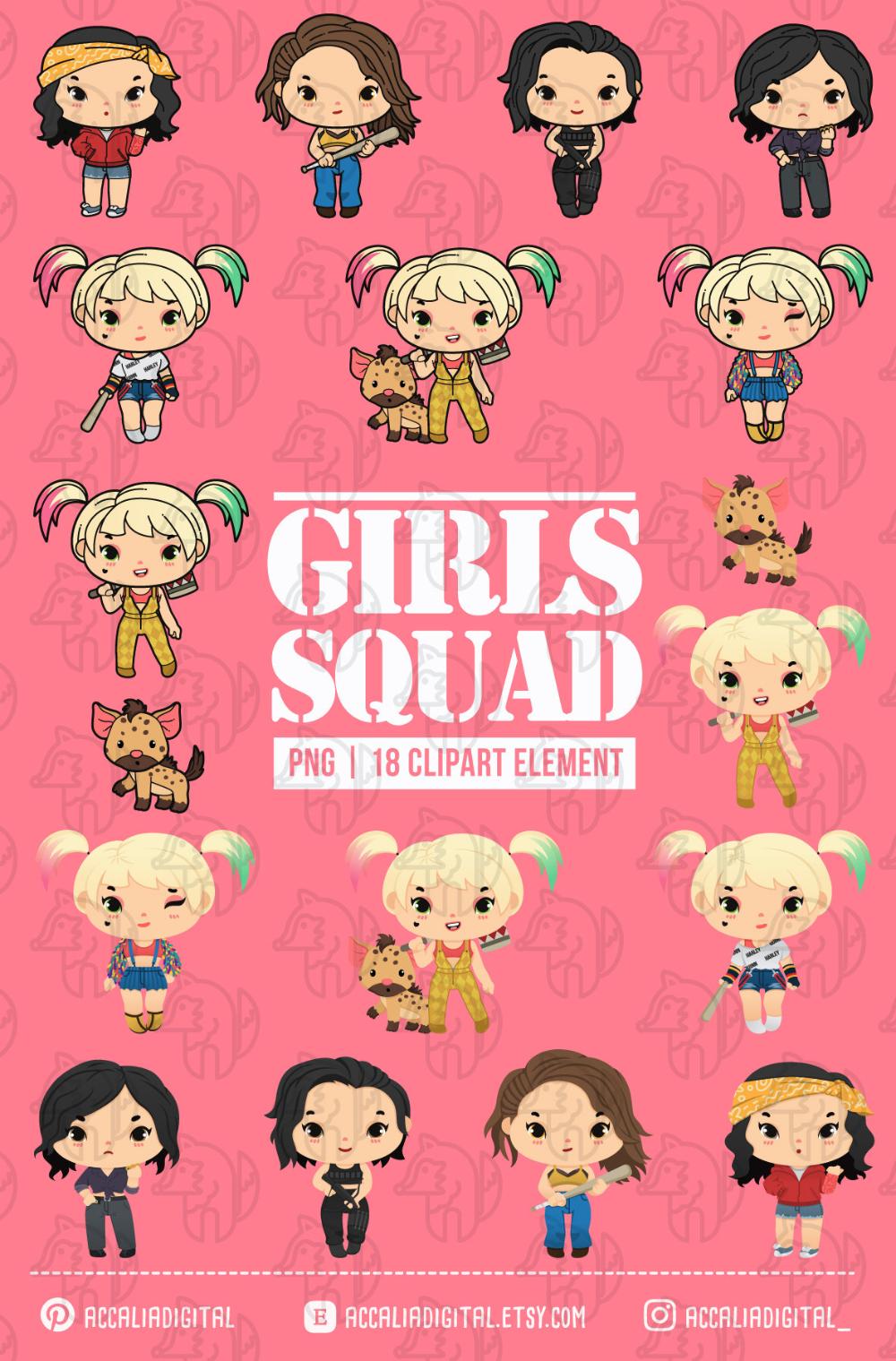 Girls Squad Clipart Super Girls Sticker Girls Gang Clipart Etsy Girl Stickers Clip Art Etsy