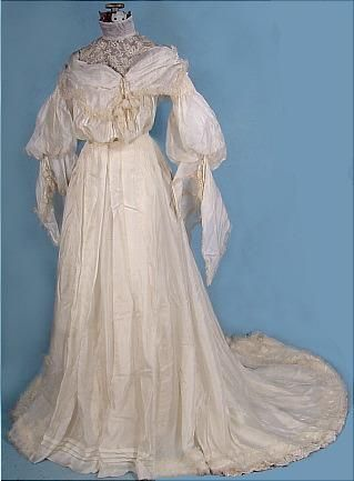 1904 Wedding Gown of Ivory Silk Mull with Massive Sleeves and Yoke ...