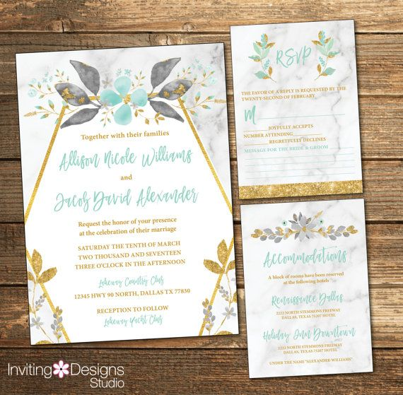 Mint Wedding Invitation Mint and Gold Wedding Marble RSVP Card