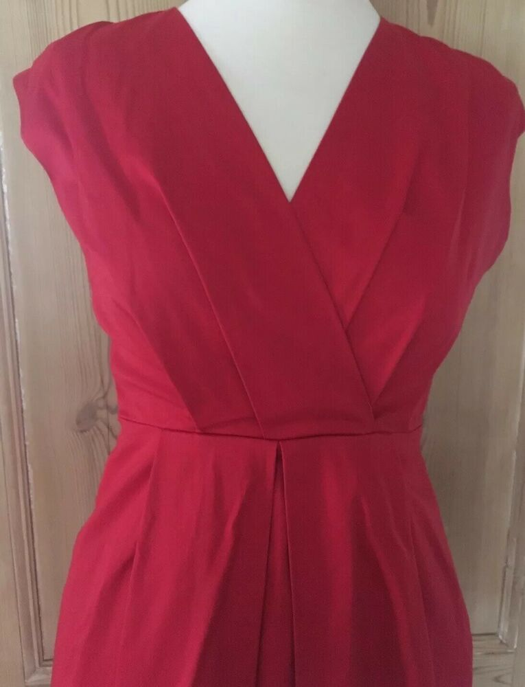 Red Stretch Satin Cotton Semi Fitted Knee Length Shift Dress Austin Reed 8 10 Fashion Clothing Shoes Accessorie Shift Dress Clothes For Women Stretch Satin