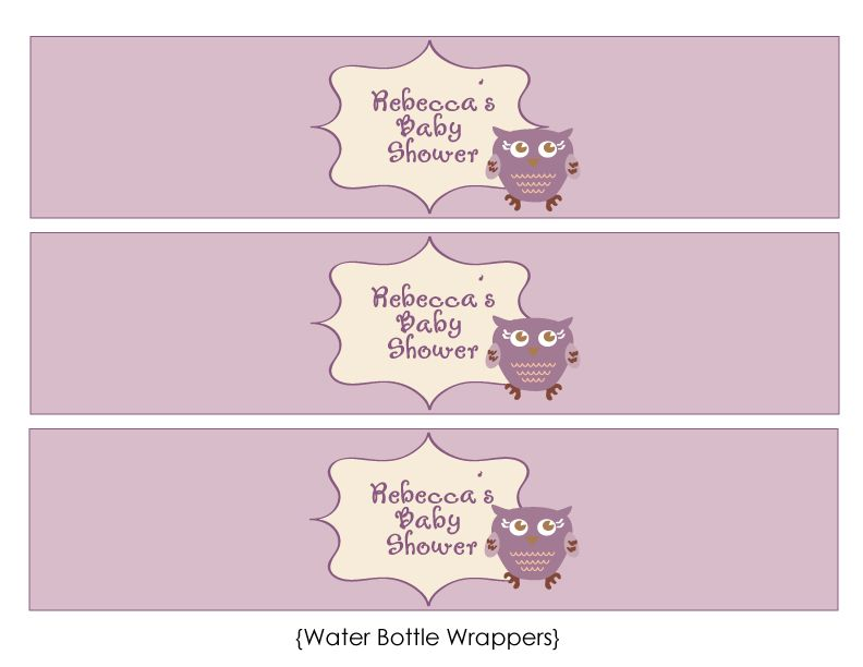 free owl baby shower templates Lavender Owl Baby Shower Water - Free Baby Shower Label Templates