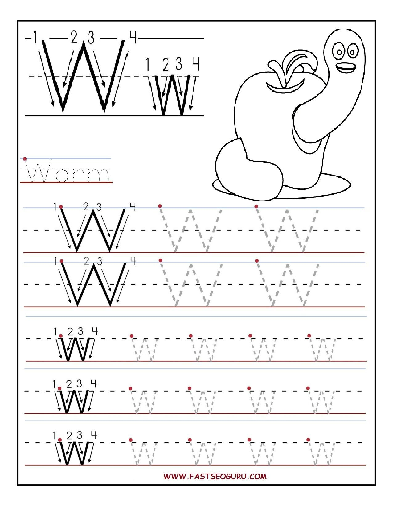 printable letter w tracing worksheets for preschool going gluten free pinterest tracing. Black Bedroom Furniture Sets. Home Design Ideas