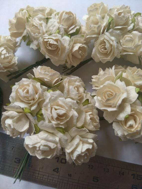 Medium Size 100 Pure White Mulberry Roses Paper Flowers Size 20