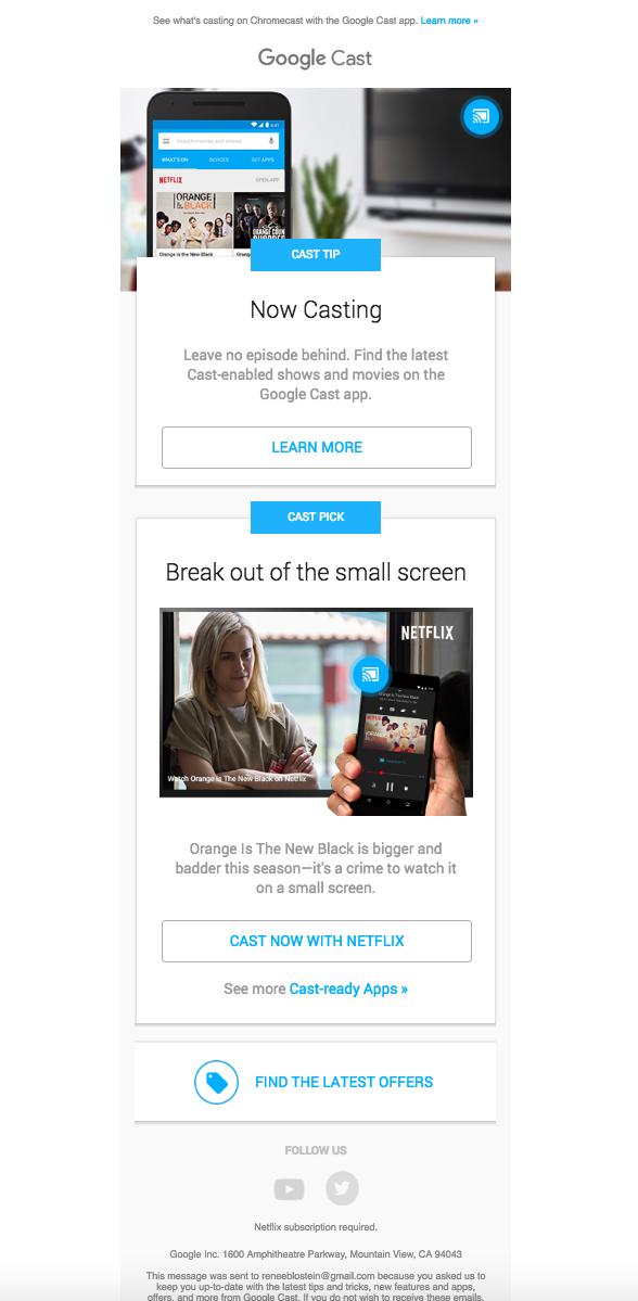 Google Cast Newsletter | email templates | Pinterest | Template