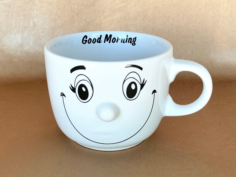 """Dolce Vita """"Good Morning"""" Large Coffee Mug, 3D Nose Smiley"""