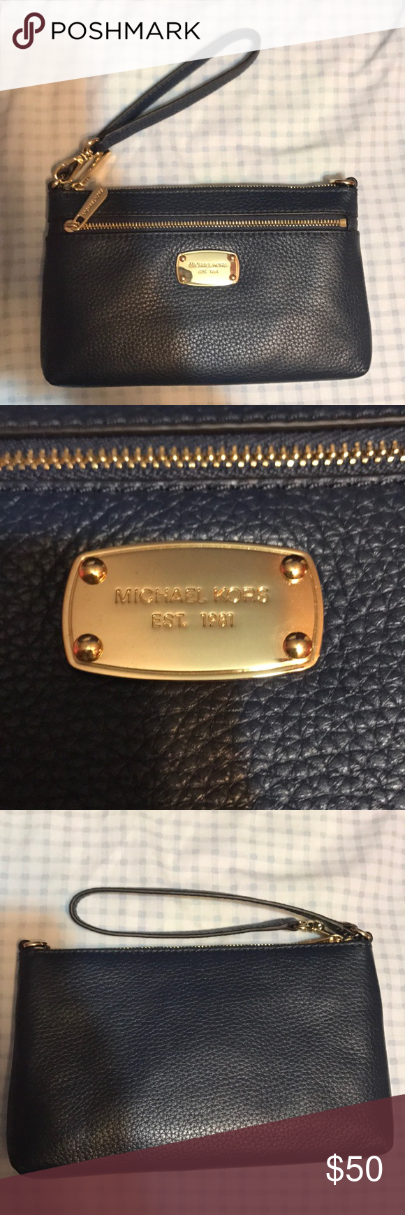 Michael Kors Wristlet in Navy Brand new, never used, tag still with it. Very soft and perfect to fit phone and other essentials. Michael Kors Bags Clutches & Wristlets
