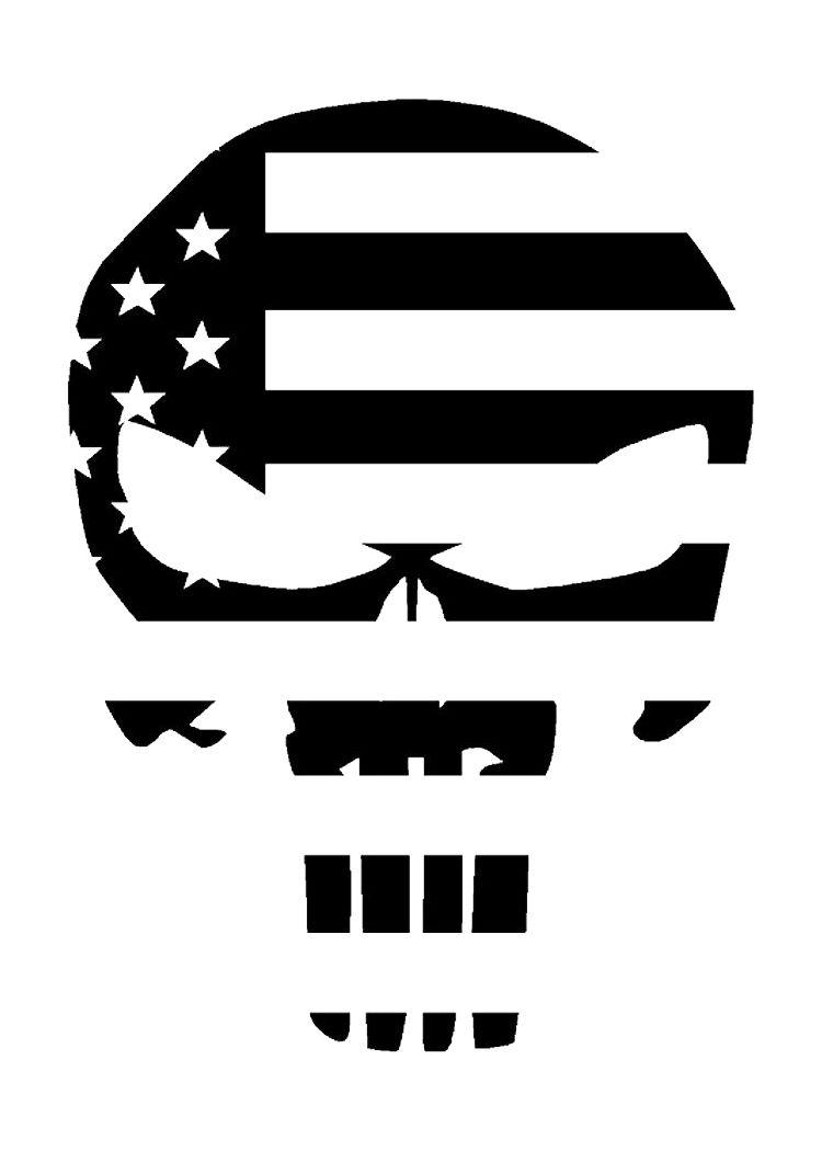 Punisher Skull American Flag Military Matte IndoorOutdoor Vinyl - Custom vinyl decals madison wi